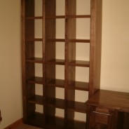 American walnut cube bookcase