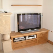 American white oak tv cabinet and floating shelves