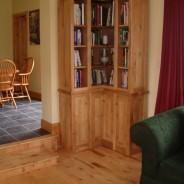 Irish oak corner bookcase