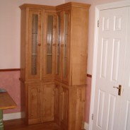Irish oak corner display cabinet