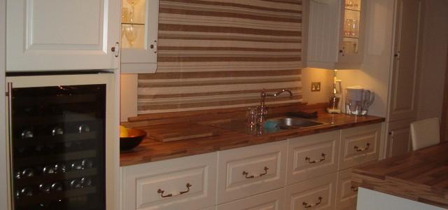 Ivory and walnut kitchen, bespoke kitchen design Galway