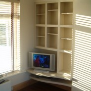 Painted tv unit and cube shelving