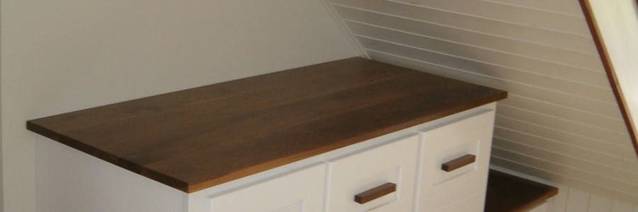 Painted furniture white and walnut under stairs storage
